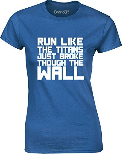 Brand88 - Run Like the Titans..., Gedruckt Frauen T-Shirt Königsblau/Weiß