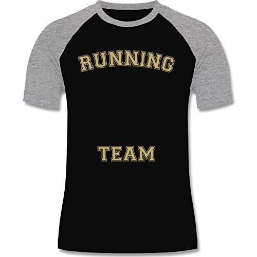 Laufsport - Running Team - zweifarbiges Baseballshirt für Männer Schwarz/Grau Meliert
