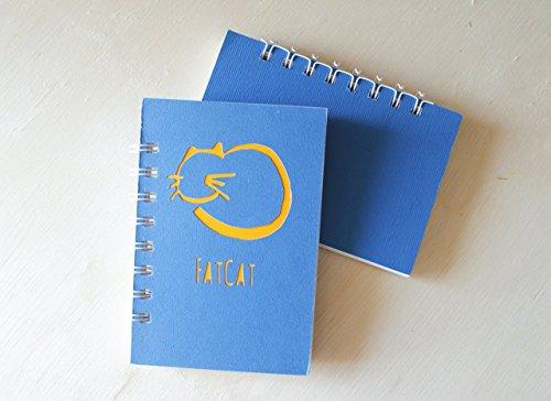 FatCat - große Katze - PurrPet - Notizbuch (Größe 14 x 9,5 cm) - Metallspirale weiße -Handemade Notizbuch - mit der Scrapbooking Technik realisiert - Geschenkidee. (Scrapbooking Zurück)