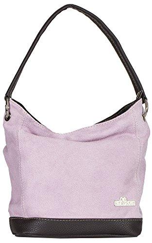 LIATALIA - Tote Bag/Shopper Schultertasche im echtes italienische Veloursleder (Mittelgroß) - 'Denise'(Perlrosa)