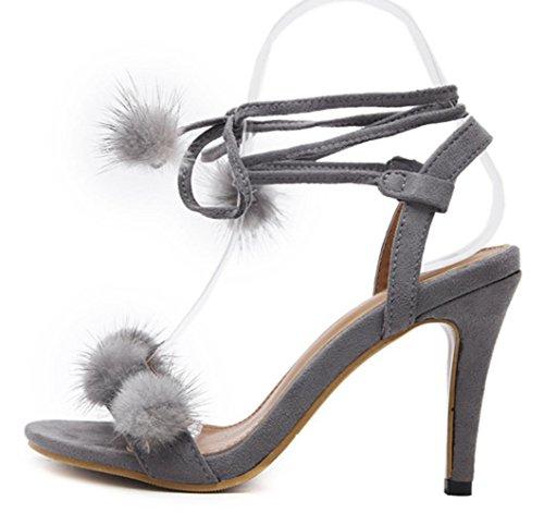 YCMDM Femmes Sandales Puffer Ball Open Toe Hollow Platform fleur inclinée avec talons hauts ouverts Grey
