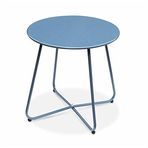 Alice's Garden - Table Basse Ronde – Cecilia Bleu grisé – Table d'appoint Ronde Ø45cm, Acier thermolaqué.