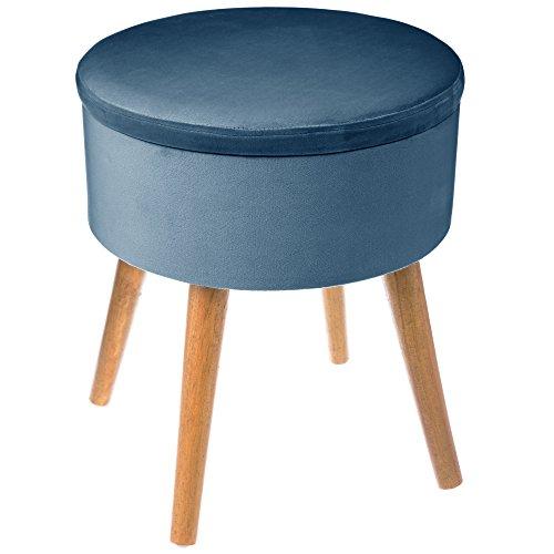 Depotmania grande sgabello-contenitore rotondo - stile scandinavo - colore: blu petrolio effetto velluto