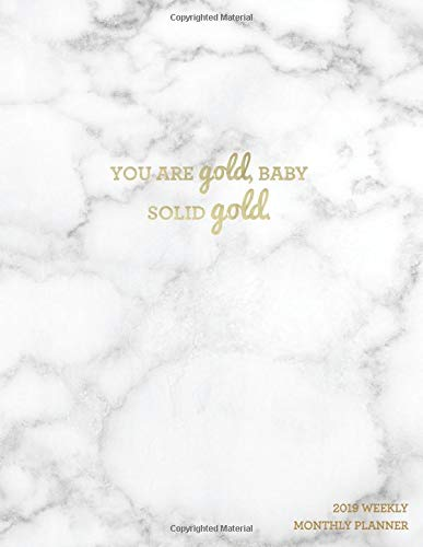 You Are Gold Baby, Solid Gold 2019 Weekly Monthly Planner: Marble + Gold | Motivational Quotes, Bullet Journal, Habit Trackers + More por Nifty Notebooks