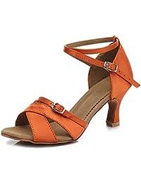 YFF La Danse Latine Chaussures Femme Talons Hauts Chaussures de Danse,Rouge,3.5