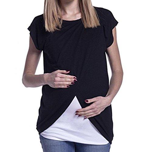 3/4 Ärmel Mutterschaft T-shirts (MCYs Damen Stilltop Stillshirt Langarmshirt Umstandsmode Schwangerschaft Umstandsshirt Mama crewneck Pflege Mutterschaft Bluse (M, Schwarz))