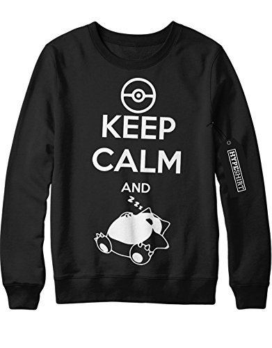 (Sweatshirt Pokemon Go Keep Calm and Relaxo Team Rocket Jessie James Mauzi Kanto 1996 Blue Version Pokeball Catch 'Em All Hype X Y Nintendo Blue Red Yellow Plus Hype Nerd Game C210009 Schwarz S)