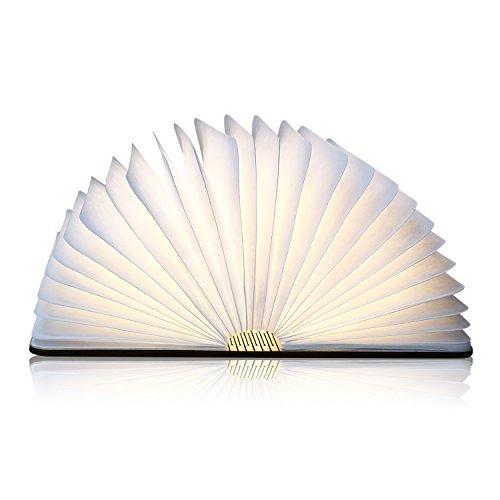 Albrillo LED Buch Lampe aus Holz und Papier, 2500 mAh Wiederaufladbar Stimmungslicht inkl. USB Kabel, warmweiß und 360° Faltbar