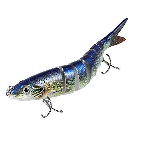 Truscend esche artificiali, 14cm 26g realistico multi-snodato segement luccio pesciolino esca crankbait gancio (s-8-blue)