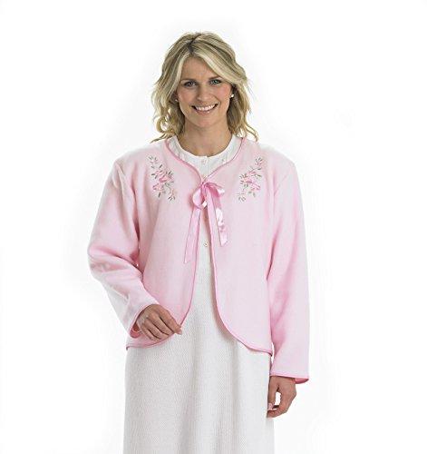 – XXXL DAMEN WEICHES Polarfleece Band Krawatte Bett Jacke Floral gesticktes Detail Haus Coat Gr. One size, rose (Bett Jacke)