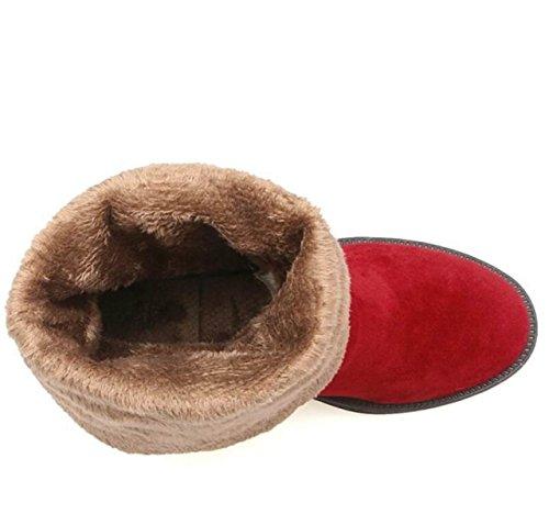 Automne Et Hiver Version Coréenne Casual Bottes Plates Confortables Haut Plat Avec Des Bottes De Chevalier Étaient Minces Et Rondes Bottes Rouges