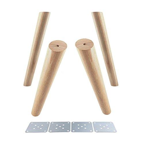 Glvanc Möbelbeine Eiche, zuverlässiges Produkt, mit Eisenplatten, für Schrank, Möbel, Sofa, Tisch, Set mit 4 Möbelbeinen (Höhe 12/15/18/20/30cm) (Hohe Eiche Tisch)