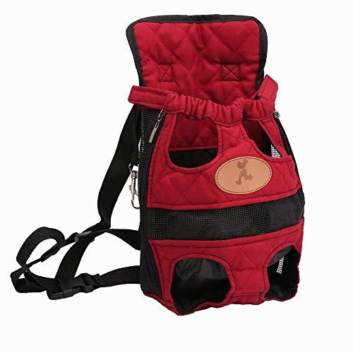 ERTUE Home Pet Carrier Rucksack einstellbar sicher Katze Hund Front Taschen leichte Kopf Beine Schwanz aus hände frei for Reisen wandern Camping (m, rot) - Loop-seitenteile