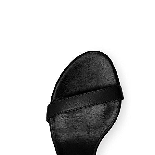 EDEFS Femmes Sandales Bout Ouvert Lanière Talon Bloc Haut Dame Sexy Eté Chaussure Noir