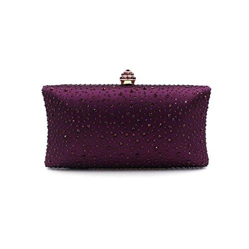 WYB Europa LuxuxRhinestone Abendbeutel / Hand Diamant / full Diamant gehobenen Satin / Damen Tasche lila