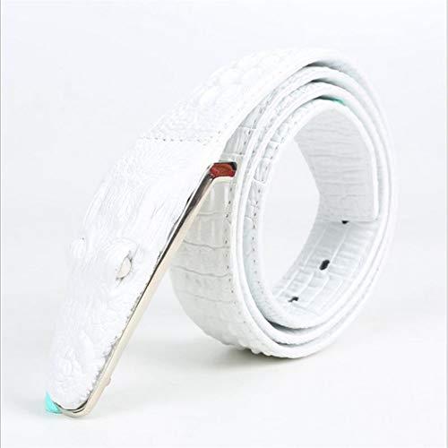PIDAIKING Gürtel,Herren Gürtel Weisse Kuh Leder Krokodil Muster Modellierung Legierung Schnalle Gürtel Für Männer Business Casual Male Gurt, 110 cm. -