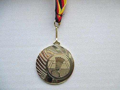 Medaillen aus Stahl 40mm mit einem Emblem - Badminton, Federball, Ball, inkl. Medaillen Band Farbe: Gold, mit Emblem 25mm