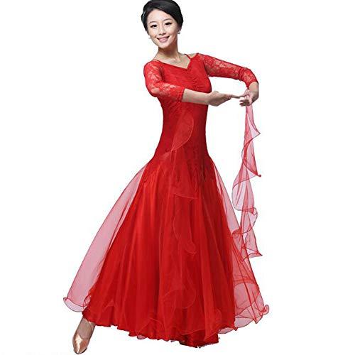 Standardtanz Kostüm Damen - MDWDQ Damen Moderner Tanzrock V Ausschnitt Tanzkleid Walzer Kostüm Standardtanz Kleider Schaukel Wettbewerb Weiblicher Erwachsener Langärmeliger,Red,S