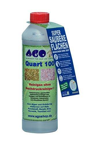 AGO ® Sauberkeit für Haus und Garten Quart ® 100 Hochkonzentrat Grünbelagentferner 500ml Konzentrat. Gegen Algen und sonstige Grünbeläge auf jedem Material, Chlor- und Säurefrei BAuA-N72912