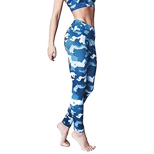 Damen Laufhose Leggins, Frauen Blau Camouflage Prints Sexy Capri Leggings Lässige Workout Strumpfhosen Bauchkontrolle Dünne Yoga Pilates Hosen Sporthose Yoga Sporthose Stretch-Hose Lauf-Tights -