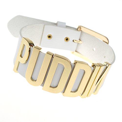 Coolcoco Einstellbare weiße Gürtel Gold Metall Buchstabe Puddin Halsband Halskette für Frauen und Mädchen (ca. 1,2 Zoll (Hund Männer Kostüme)