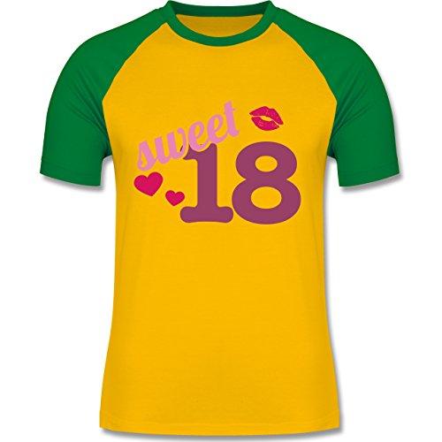 Geburtstag - Sweet 18 - zweifarbiges Baseballshirt für Männer Gelb/Grün