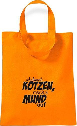 ShirtInStyle kleine Baumwolltasche Typo ich könnt Kotzen, mach´n Mund auf Farbe Rot orange