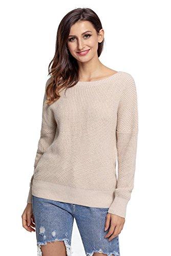 Maglione pullover lavorato a maglia elegante e elegante con incrocio sul retro da donna (si può indossare indipendentemente dalla parte anteriore e posteriore) apricot