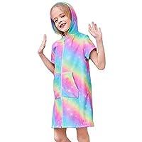 Beinou Terry Swim Cover Up for Girls Rainbow White Unicron Swim Robe Beach Dress
