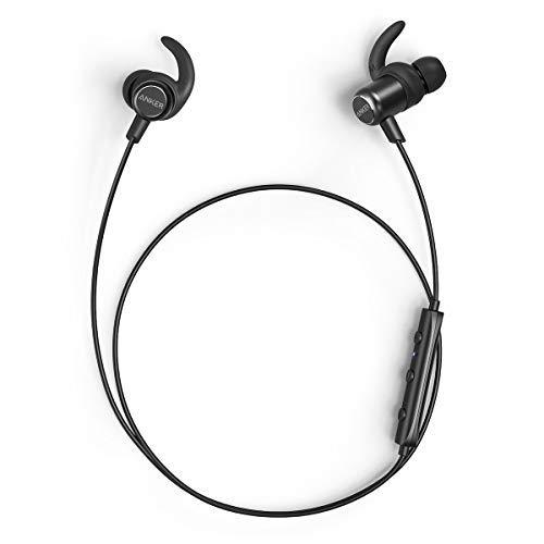 Anker SoundBuds Slim, Auriculares Bluetooth 4.1 estéreo, magnético on funda delgada y ligera, resistente al agua deporte auriculares con micrófono, color negro (Reacondicionado Certificado)