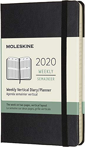 Moleskine 12 mesi 2020 agenda settimanale verticale, copertina rigida e chiusura ad elastico, colore nero, dimensione pocket 9 x 14 cm, 144 pagine, 70 g/m²