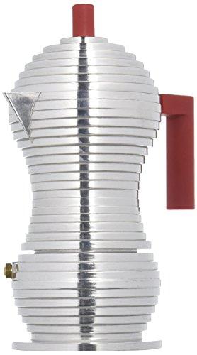 Alessi Pulcina Caffettiera Espresso di Design in Fusione di Alluminio, PA, Rosso, 3 Tazze