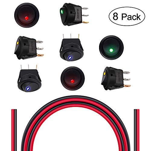 Interruptor LED de encendido / apagado para automóvil y juego de cables de silicona 18AWG.    Estos interruptores basculantes están disponibles en una variedad de estilos diseñados especialmente para la instalación de 12 voltios.  son ampliamente ut...