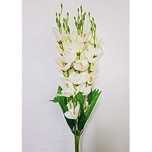 takestop® Rama gladioli gladiolo Artificial falso H. 66cm Rama flores cerrados decoración composiciones de flores Boda cementerio funeral
