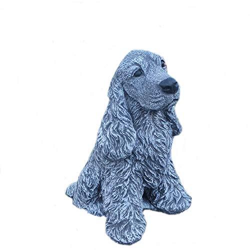 Steinfigur Gartenfigur Tierfigur Hund Cocker Spaniel Steinguss Garten Frostfest