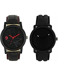 Om Designer Analogue Black Dial Watch Leather Strap Attractive Stylish Combo Watches For Men's & Boy's(Pack Of 2)