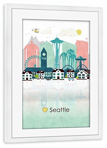 artboxONE Poster mit Rahmen Weiß 75x50 cm Seattle Skyline von Greengreendreams - gerahmtes Poster