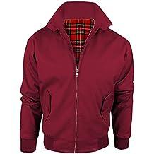 MYSHOESTORE Chaqueta de Harrington unisex para adultos, chaqueta tipo bomber clásica, retro, scooter de los 70, de piel, forro de tartán, tallas XS - 5XL rojo Wine XXXX-Large