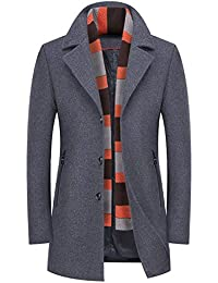 b4d127561c4 RUIYUNS Mens Fashion Lapel Wool Slim Fit Parke Business Trench Coat Winter  Woolen Overcoat with Scarf