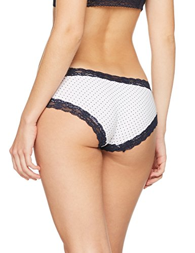 Iris & Lilly Damen Body Natural Hipster, 3er-Pack Mehrfarbig (Navy Spot In White  Background With Navy Trim / White With Navy Trim)