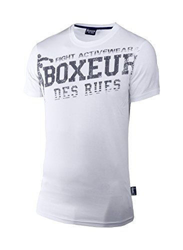 Boxeur Des Rues Fight Activewear T-shirt Scollo Rotondo con Logo, Bianco, M