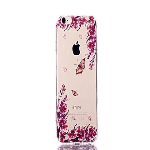 Coque iPhone 5/5S/SE, Jiejiewyd résistant aux chocs Flexible Souple en caoutchouc de silicone TPU + PC Coque bumper pour iPhone 5/5S/SE–Orange Papillon/Fleur
