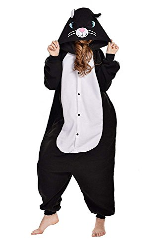 sex Jumpsuit Tier Cartoon Fasching Halloween Pyjama Kostüm Onesie Fleece-Overall Schlafanzug Schwarz Katze X-Large ()