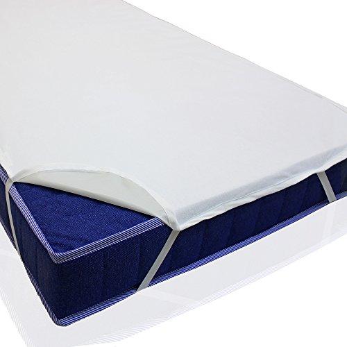 sinnlein Protector de colchón impermeable, en 11 medidas, hecho de 100% algodón, con goma elástica en todo el perímetro parecido a una sábana bajera, absorbente por el tejido de rizo, lavable hasta 95°C (140x200 cm)