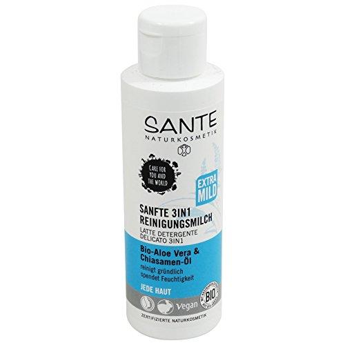 SANTE - Lait Démaquillant Douceur 3 en 1 Eye, le visage, les lèvres avec Aloe Vera et Chia graines - Nettoie efficacement et en douceur tous les types de peau - Élimine les résidus de maquillage