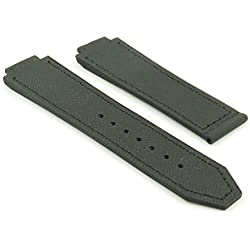 DASSARI S3 Black Diamond Fiber & Rubber Watch Band for Hublot Big Bang