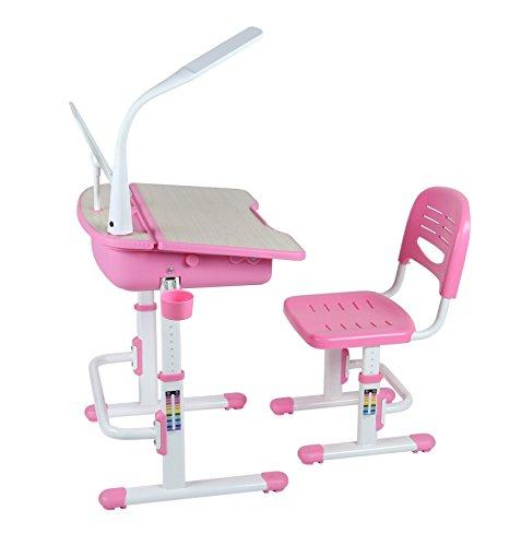 LEOMARK Ergonomisch Kinderschreibtisch Schreibtisch Und Stuhl Höhenverstellbar Stuhl-Set Bücherregal Kinder-Schreibtisch Mit Stühlen Schublade Led-Lampe Farbe Pink