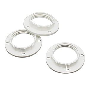 3 Stück Schraubring E14 Kunststoff Weiß für Lampen-Fassung Ring für Lampen-Schirm oder Glas-Elemente