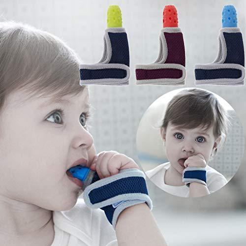 Die Baby-band (ShowkingL Baby Kind Fingerschutz Stop Daumen Saugen Handgelenk Band Baby Pflege Handschuhe Beißring Schnuller Neugeborenen Zahnpflege)