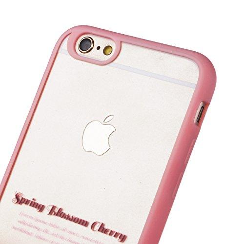 iPhone 6 / 6S Custodia, Yokata PC Silicone Bumper Goccia Protezione Cover Rosa Trasparente Crystal Clear Backcover Utral Slim Ultra Sottile Luce Case per iPhone 6 / 6S + 1 * Stilo Penna - Coniglio Ciliegio